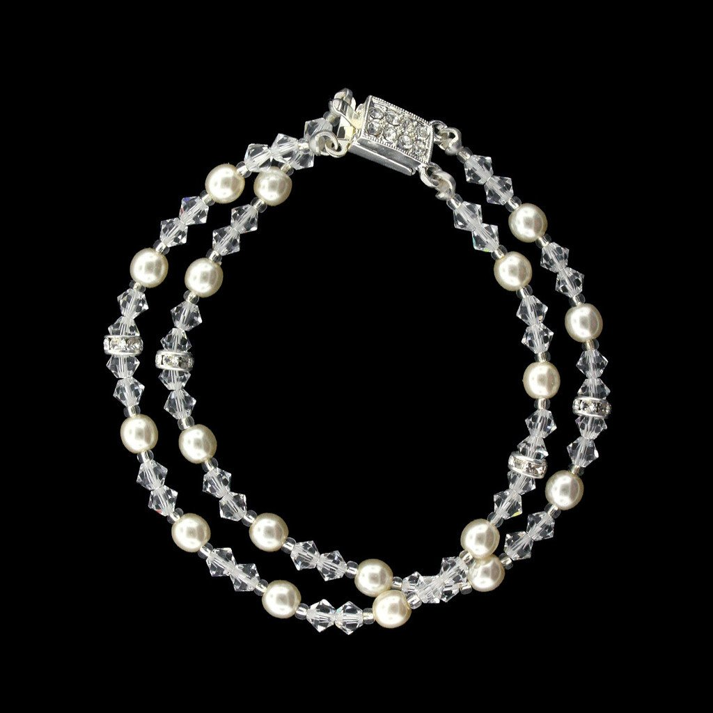 2-Row Crystal & Cream Pearl Bracelet