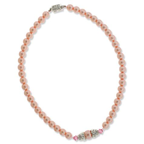 Pink Pearl Necklace with Pave Crystal Center