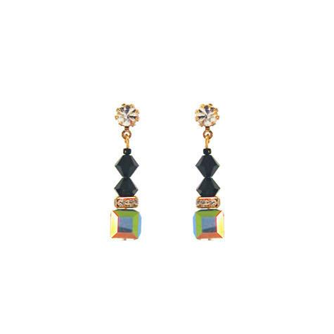 Black & Green Crystal Drop Earrings