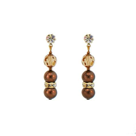 Champagne & Dark Brown Beaded Drop Earrings