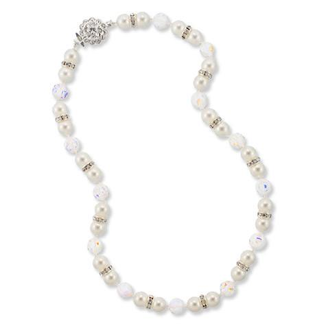 White Pearl & Iridescent Crystal Beaded Necklace