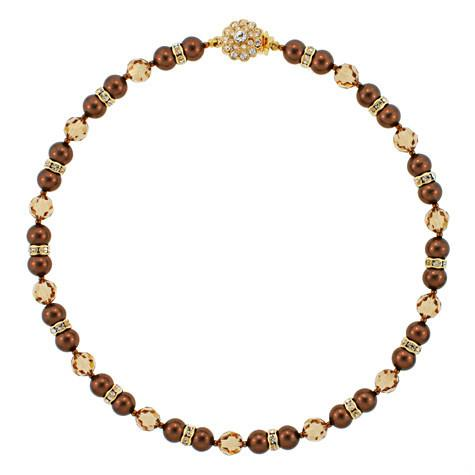 Brown Pearl & Champagne Crystal Necklace