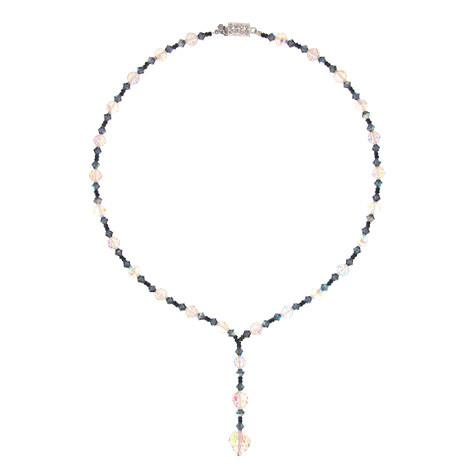 Navy Crystal Necklace with Iridescent Disco Beads