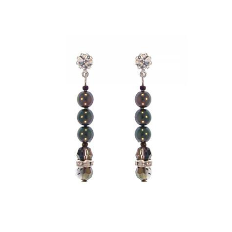 Black Tahitian Pearl Earrings with Heliotrope Crystal