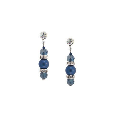 Navy Pearl & Crystal Drop Earrings