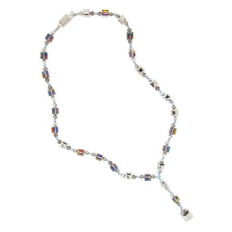Multi-Color Drop Necklace with Crystal Cubes