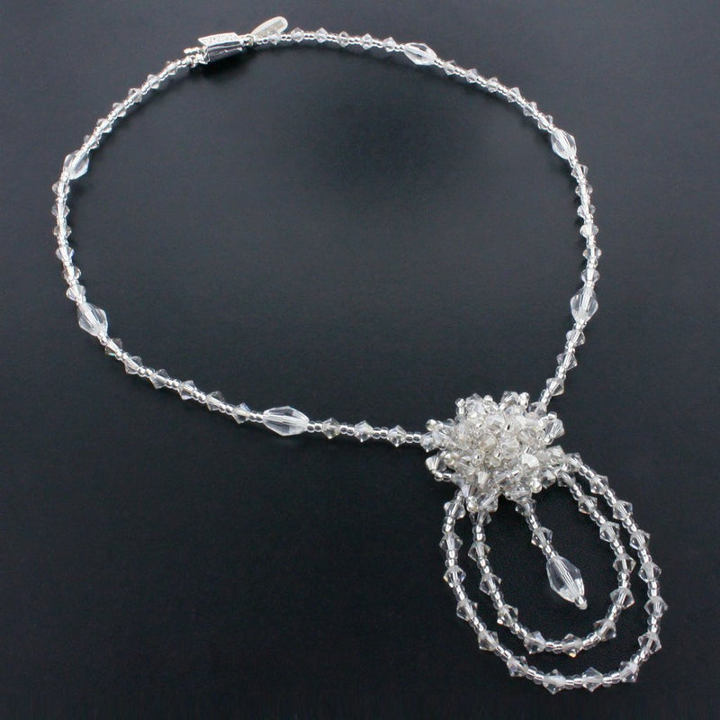 Silver Beaded Necklace with Cluster