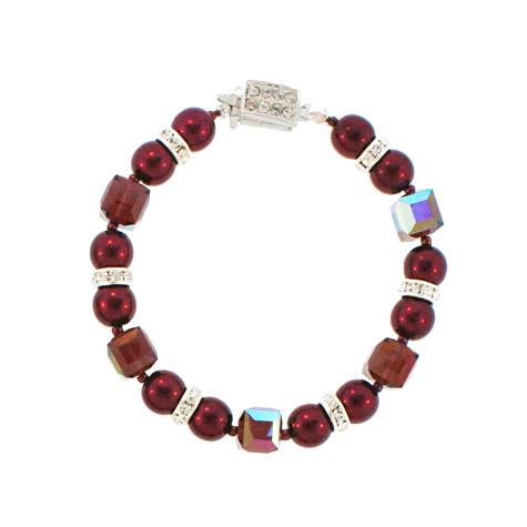 Garnet Pearl Bracelet with Crystal Highlights