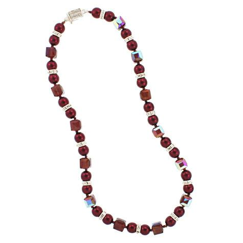 Burgundy Crystal & Garnet Pearl Necklace