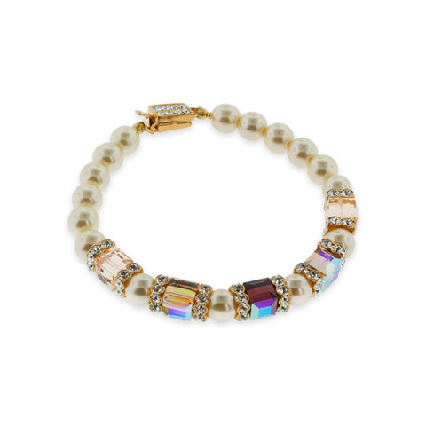 Multi-Color Crystal Bracelet with Ivory Pearl