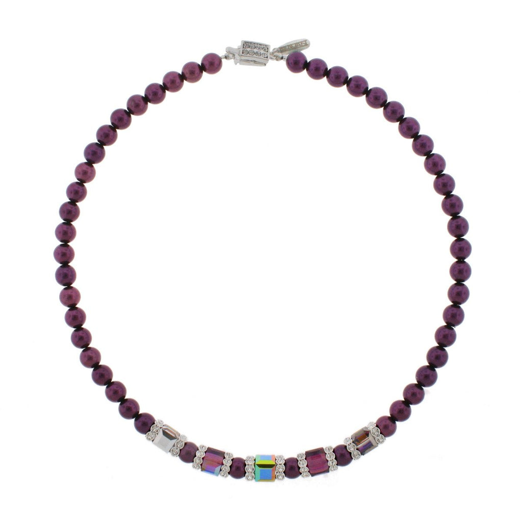Amethyst Pearl Necklace with Multi-Color Center