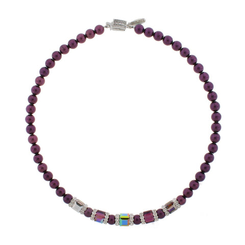 Purple Necklace with Multi-Color Center