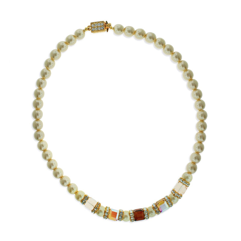 Ivory Faux Pearl Necklace with Multi-Colored Center