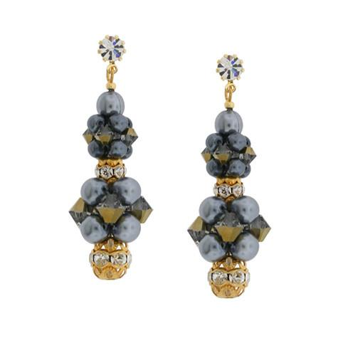 Gray & Gold Cluster Earrings, HOL231E-SX