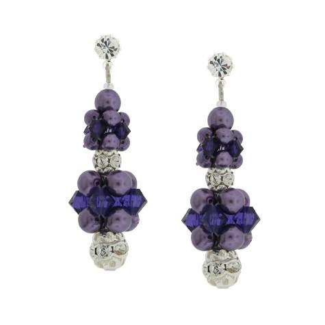 Purple Cluster Drop Earrings - HOL231E-SX