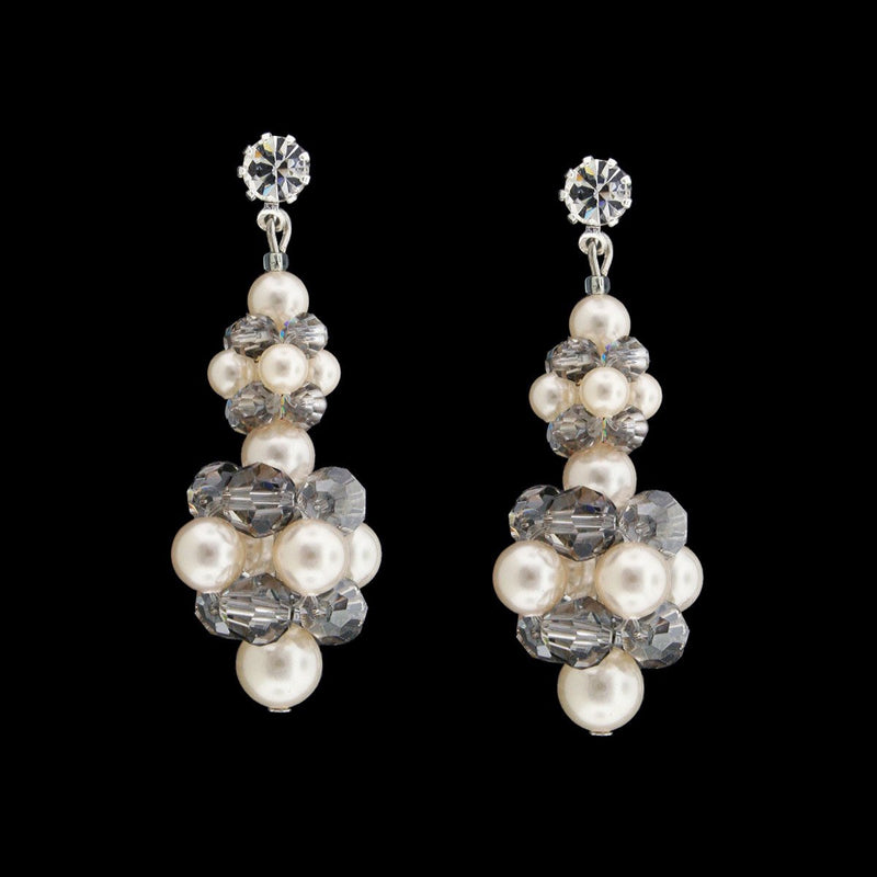 Silver & White Cluster Earrings