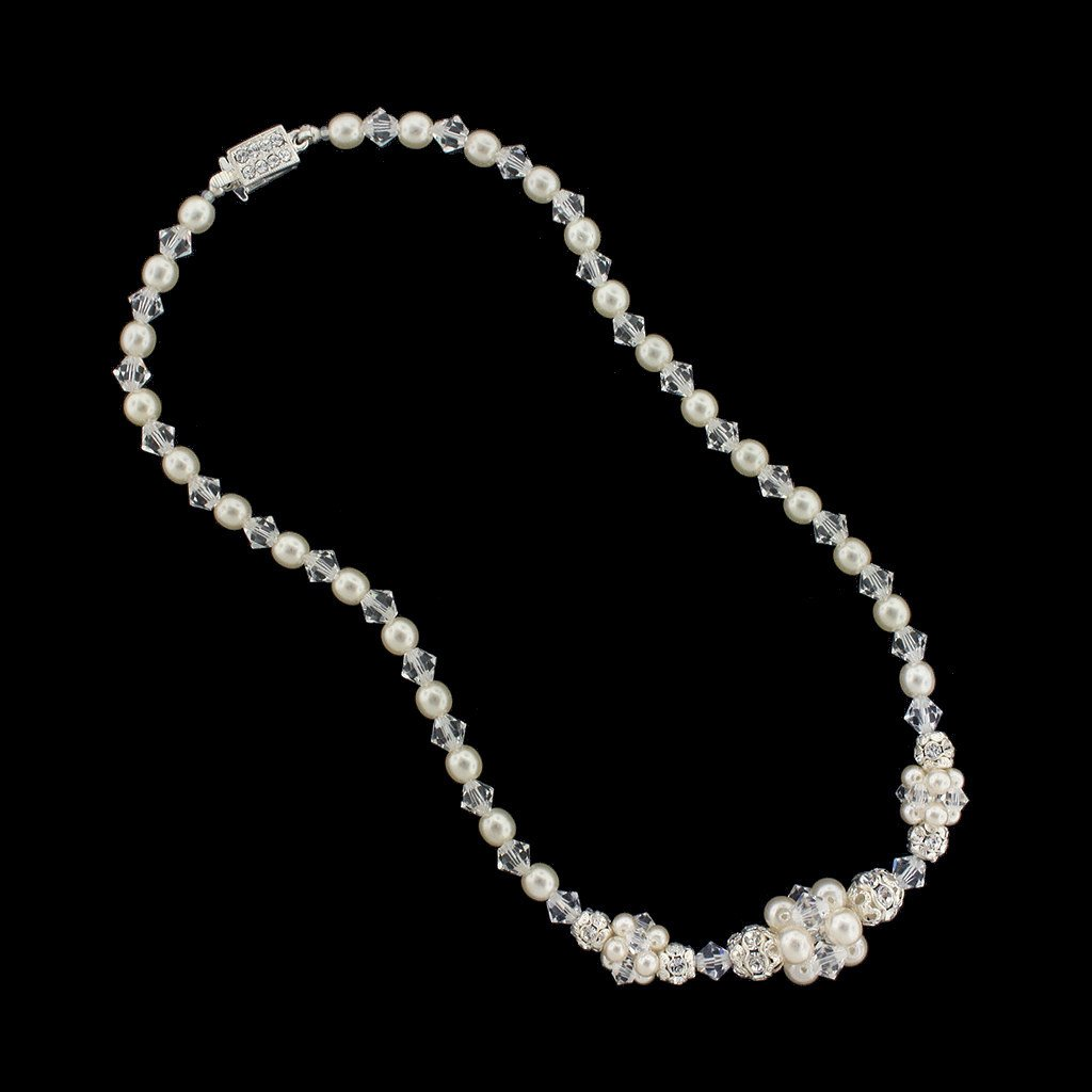 Pearl & Crystal Bridal Necklace with Clusters