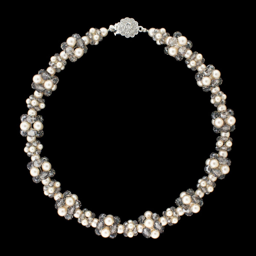 Swarovski Crystal & Pearl Cluster Necklace