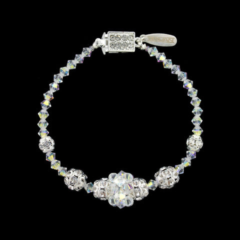 Iridescent Crystal Bracelet with Center Cluster