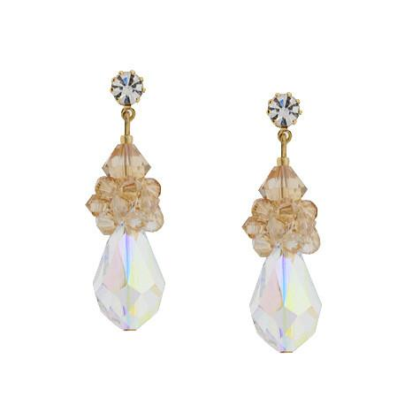 Iridescent Teardrop Earrings with Champagne Top
