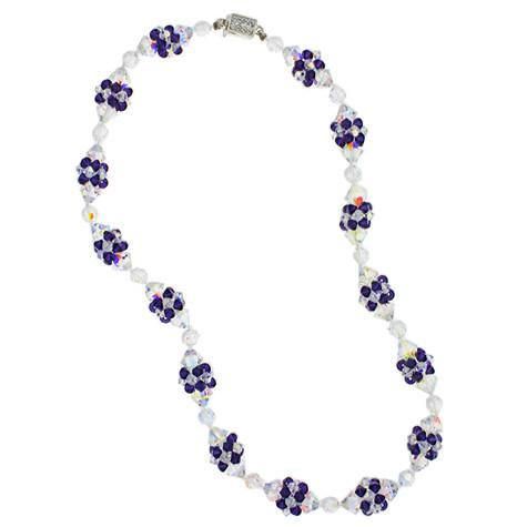 Purple Crystal Necklace with Woven Clusters