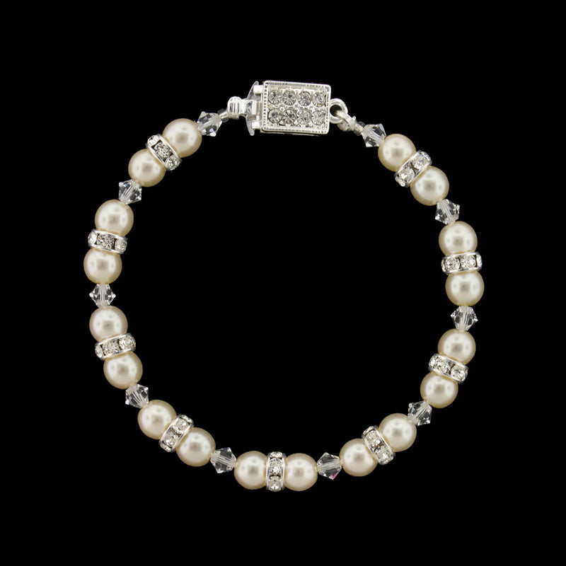 Pearl & Crystal Beaded Bridal Bracelet - cream