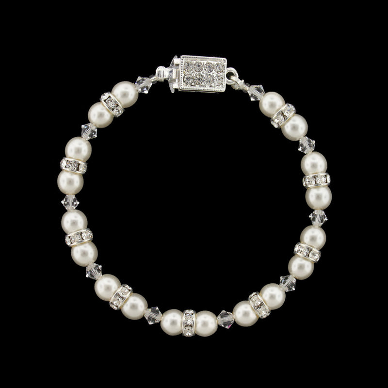 Pearl & Crystal Beaded Bridal Bracelet - snow white