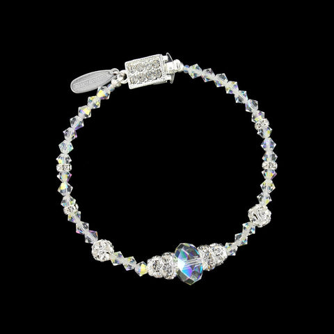 Beaded Crystal Bracelet with Center Accent