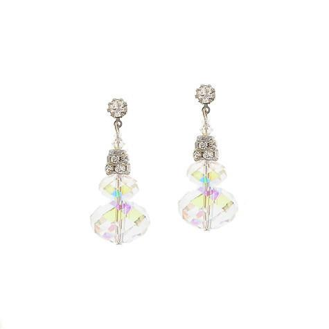 Iridescent Stacked Crystal Earrings