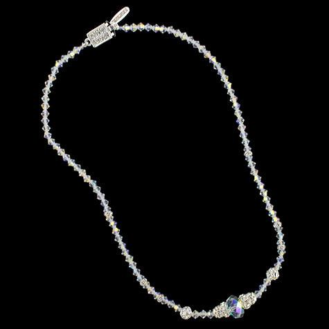 Beaded Crystal Necklace with Center Accent