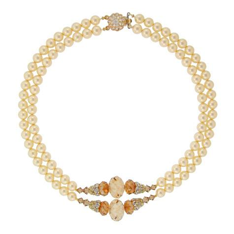 2-Row Pearl Necklace with Crystal Center