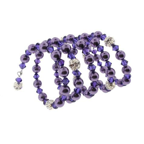 Purple Wrap Bracelet with Crystal & Glass Beads