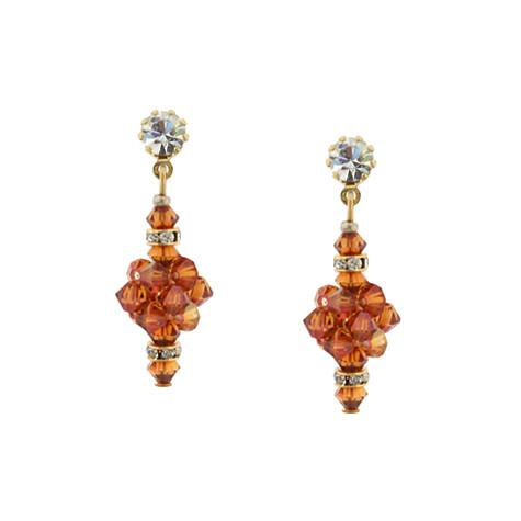 Burnt Orange Crystal Cluster Earrings - HOL558E-SM