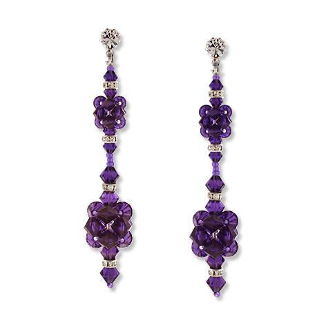 Purple velvet crystal earrings - HOL558E