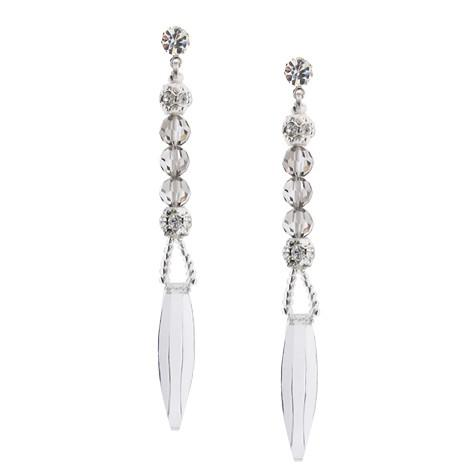 "3"" Silver and Clear Crystal Earrings"