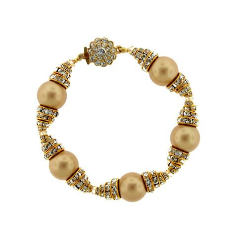 Gold Pearl Bracelet with Stacked Rondelles