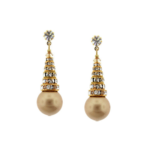 vintage gold swarovski pearl earrings - HOL565E