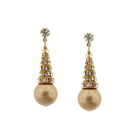 Earrings with Stacked Rondelles & Pearls - gold pearls