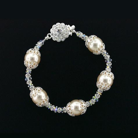 Pearl & Crystal Bracelet with Filigree
