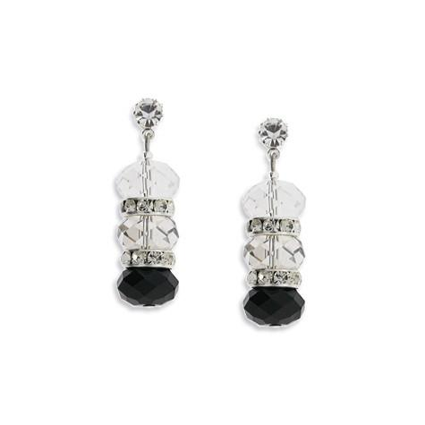 Black, Gray & Clear Crystal Earrings