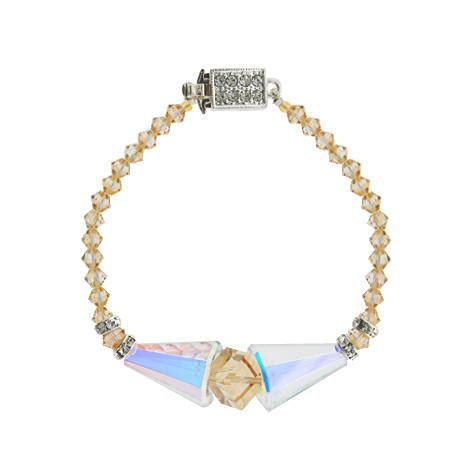Geometric Crystal Bracelet with Dramatic Center