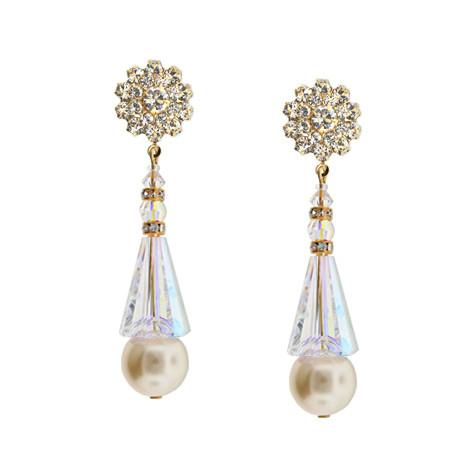 Pearl & Crystal Tapered Earrings with Fancy Top