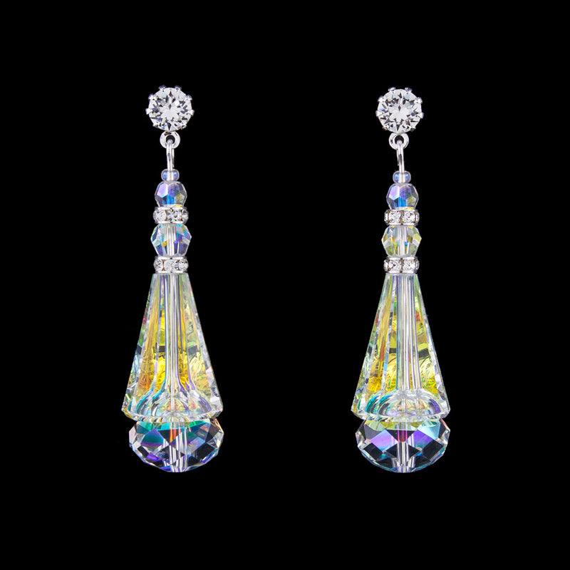 Crystal Cone Earrings - iridescent, silver