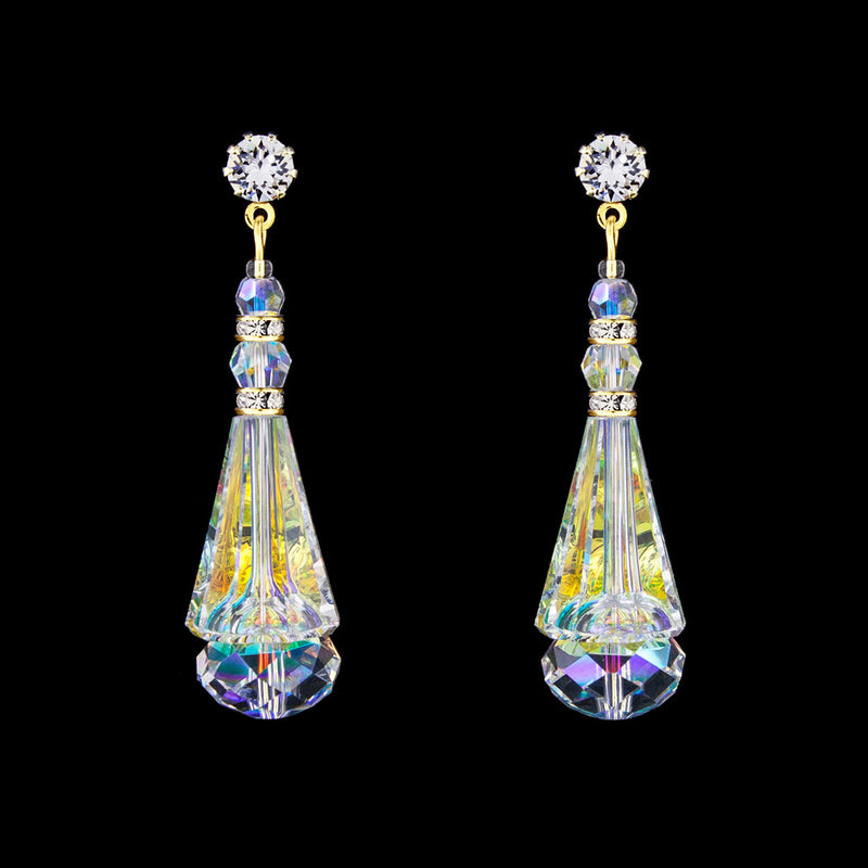 Crystal Cone Earrings - iridescent, gold