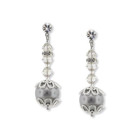 Gray Pearl Earrings with Crystal & Filigree