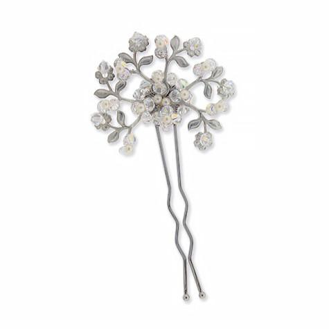Bridal Hairpin with Glass Pearls & Iridescent Crystal
