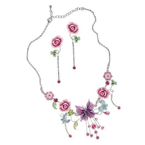 Pink & Purple Flower Necklace & Earrings