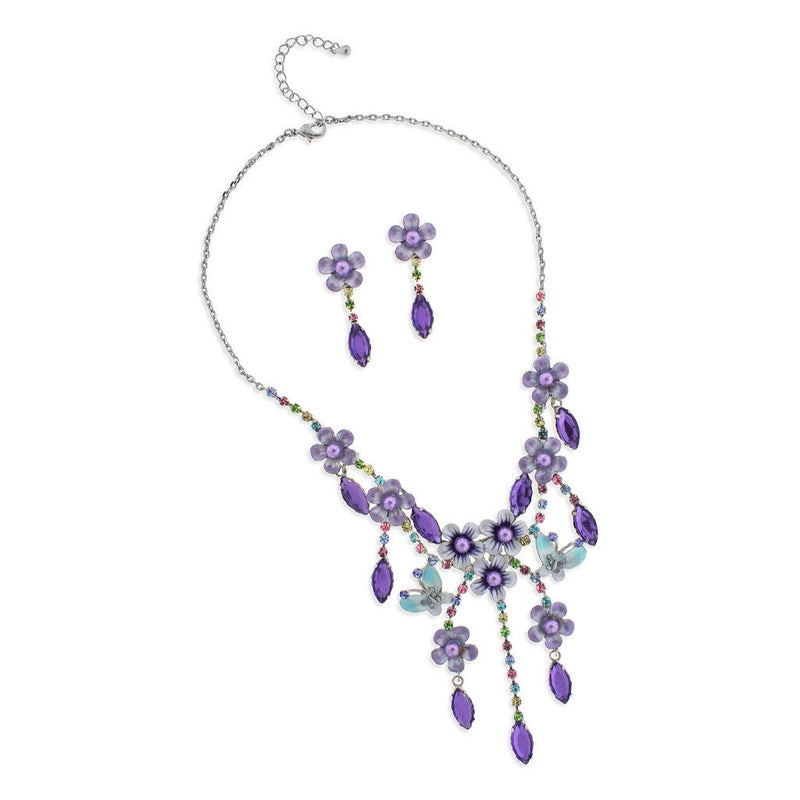 Multi-Drop Purple Flower Necklace & Earrings