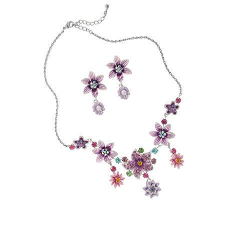 Crystal Accented Flower Necklace & Earrings