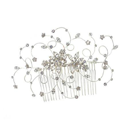 Bridal Haircomb Adorned with Round and Marquise Crystals